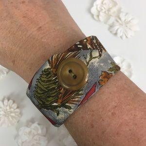 Nature Fall Cuff Bracelet Handmade Jewelry Woodsy